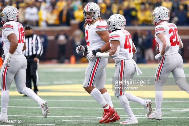 Ohio State Buckeyes defensive end Chase Young looks back over his shoulder during a regular season Big 10 Conference game between the Ohio State...