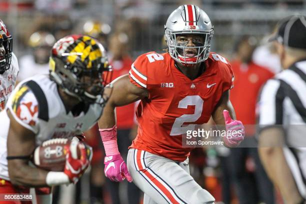 Ohio State Buckeyes defensive end Chase Young plays defense during game action between the Maryland Terrapins and the Ohio State Buckeyes on October...