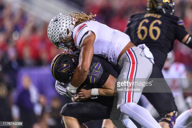 Ohio State Buckeyes defensive end Chase Young sacks Northwestern Wildcats quarterback Aidan Smith in the 1st quarter during a college football game...