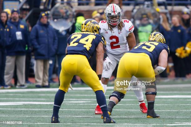 Ohio State Buckeyes defensive end Chase Young waits for the play during a regular season Big 10 Conference game between the Ohio State Buckeyes and...