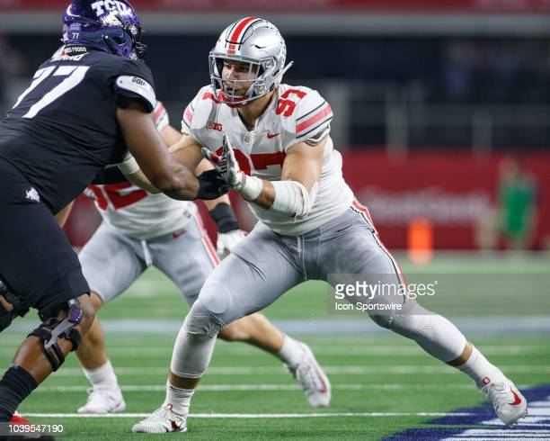 Ohio State Buckeyes defensive end Nick Bosa battles with TCU Horned Frogs offensive tackle Lucas Niang during the Advocare Showdown college football...