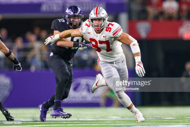Ohio State Buckeyes defensive end Nick Bosa rushes around the edge during the AdvoCare Showdown between the TCU Horned Frogs and Ohio State Buckeyes...