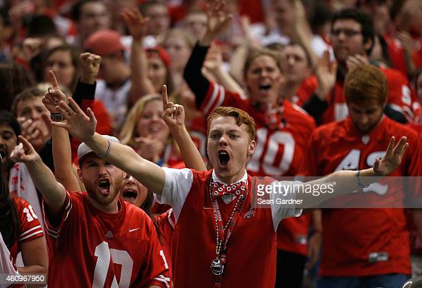 Ohio State Buckeyes fans cheer during the All State Sugar Bowl against the Alabama Crimson Tide at the Mercedes-Benz Superdome on January 1, 2015 in...