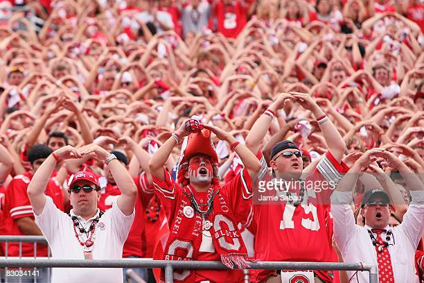Ohio State Buckeyes fans cheer on their team against the Minnesota Golden Gophers on September 27 2008 at Ohio Stadium in Columbus Ohio