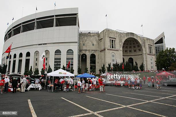 Ohio State Buckeyes fans tailgate in a parking lot outside Ohio Stadium before their game against the Minnesota Golden Gophers on September 27, 2008...
