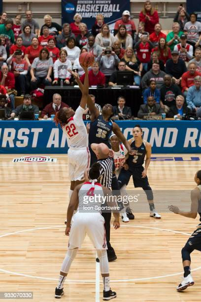 Ohio State Buckeyes forward Alexa Hart and George Washington Colonials forward Neila Luma jump for the tipoff during the first round game of the Div...