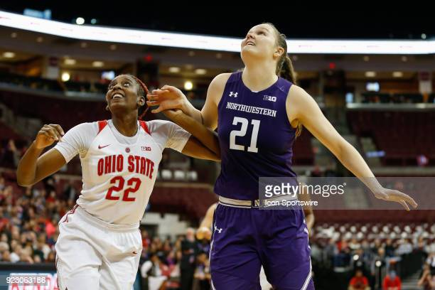 Ohio State Buckeyes forward Alexa Hart and Northwestern Wildcats forward Abbie Wolf battle for rebounding position during the first half of a regular...