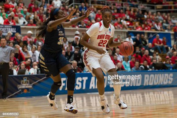 Ohio State Buckeyes forward Alexa Hart drives in the lane during the first round game of the Div I Women's Championship between the George Washington...