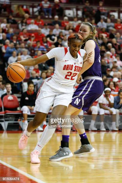 Ohio State Buckeyes forward Alexa Hart drives to the basket against Northwestern Wildcats forward Abbie Wolf during the second half of a regular...