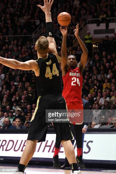 Ohio State Buckeyes forward Andre Wesson shoots the ball over Purdue Boilermakers center Isaac Haas during the Big Ten Conference college basketball...