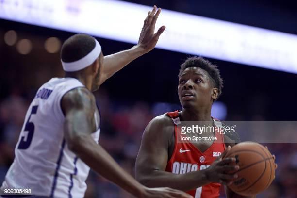 Ohio State Buckeyes forward Jae'Sean Tate battles with Northwestern Wildcats center Dererk Pardon during the BIG Ten college basketball game between...