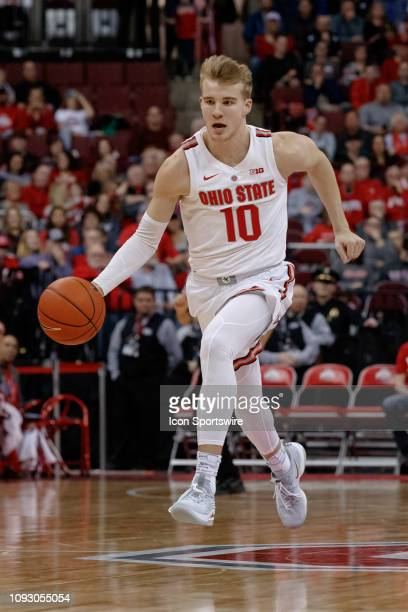 Ohio State Buckeyes forward Justin Ahrens breaks free in a game between the Ohio State Buckeyes and the Rutgers Scarlet Knights on February 02 2019...