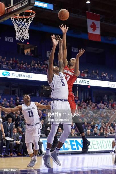 Ohio State Buckeyes forward Keita BatesDiop battles with Northwestern Wildcats center Dererk Pardon during the BIG Ten college basketball game...