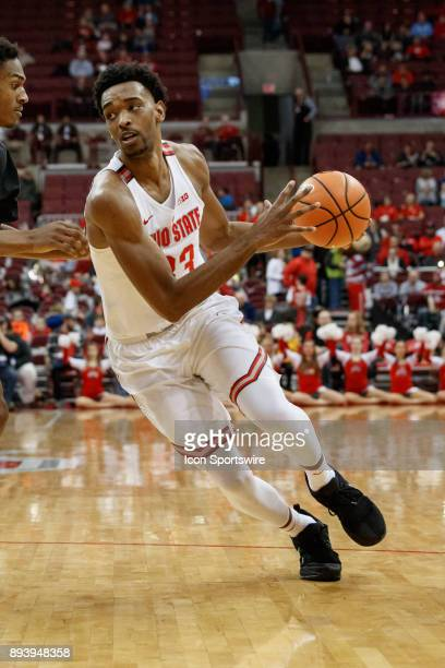 Ohio State Buckeyes forward Keita BatesDiop dribbles the ball during a game between the Appalachian State Mountaineers and the Ohio State Buckeyes on...