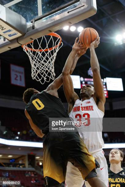 Ohio State Buckeyes forward Keita BatesDiop lays the ball up and is fouled by Appalachian State Mountaineers forward Isaac Johnson during a game...