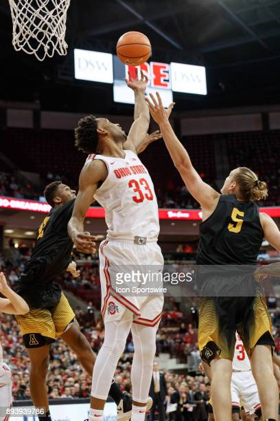 Ohio State Buckeyes forward Keita BatesDiop stretches for a rebound during a game between the Appalachian State Mountaineers and the Ohio State...