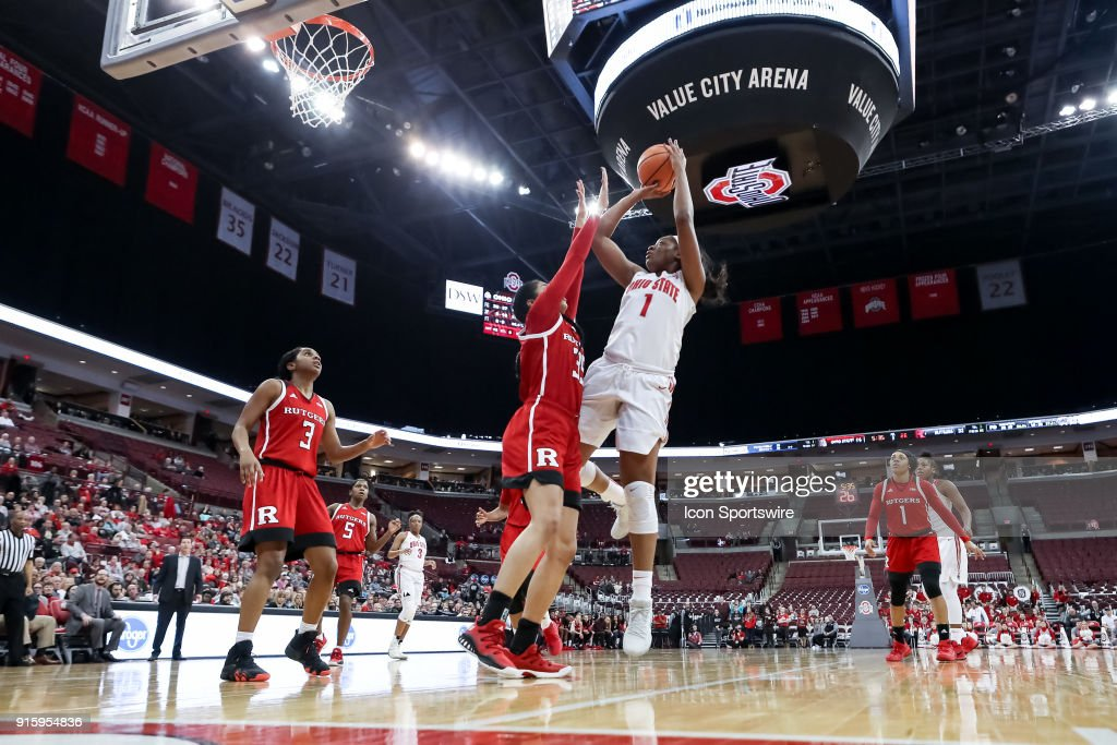 Ohio State Buckeyes forward Stephanie Mavunga (1) attempts a two point shot while Rutgers Scarlet Knights forward Stasha Carey (35) defends in a game between the Ohio State Buckeyes and the Rutgers Scarlet Knights on February 08, 2018 at Value City Arena in Columbus, OH. The Buckeyes won 90-68.