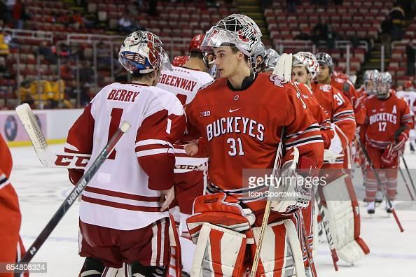 Ohio State Buckeyes Goalie Matt Tomkins Congratulates Wisconsin