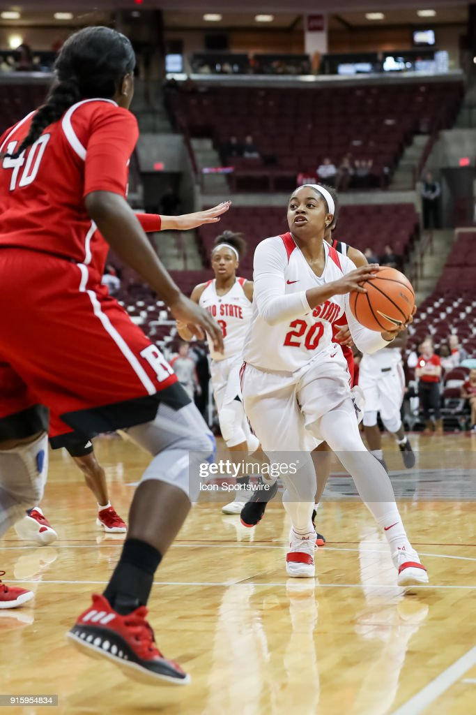 Ohio State Buckeyes guard Asia Doss (20) drives into the lane in a game between the Ohio State Buckeyes and the Rutgers Scarlet Knights on February 08, 2018 at Value City Arena in Columbus, OH. The Buckeyes won 90-68.
