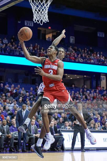 Ohio State Buckeyes guard CJ Jackson battles Northwestern Wildcats forward Vic Law for a layup during the BIG Ten college basketball game between the...
