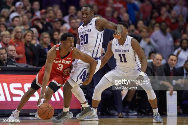 Ohio State Buckeyes guard CJ Jackson battles with Northwestern Wildcats guard Scottie Lindsey during the BIG Ten college basketball game between the...