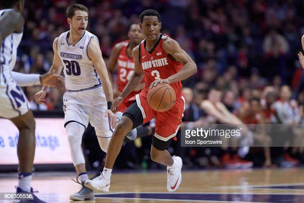 Ohio State Buckeyes guard CJ Jackson battles with Northwestern Wildcats guard Bryant McIntosh during the BIG Ten college basketball game between the...