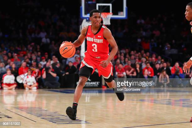 Ohio State Buckeyes guard CJ Jackson dribbles during the first half of the Big Ten Super Saturday College Basketball Game between the Minnesota...