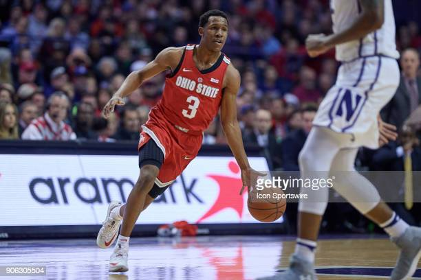 Ohio State Buckeyes guard CJ Jackson dribbles the basketball during the BIG Ten college basketball game between the Northwestern Wildcats and the...