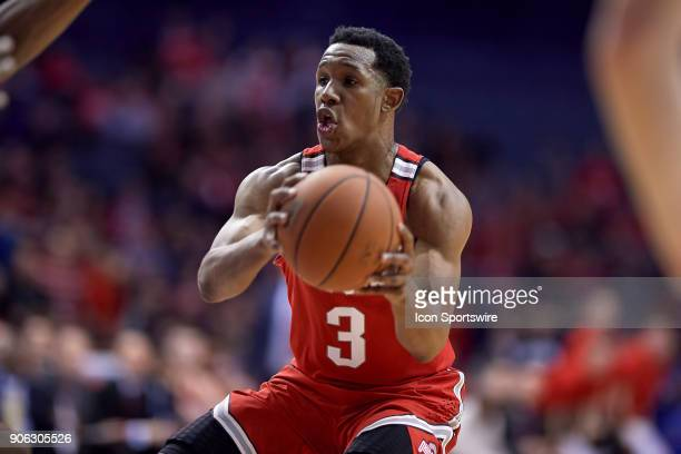 Ohio State Buckeyes guard CJ Jackson handles the basketball during the BIG Ten college basketball game between the Northwestern Wildcats and the Ohio...