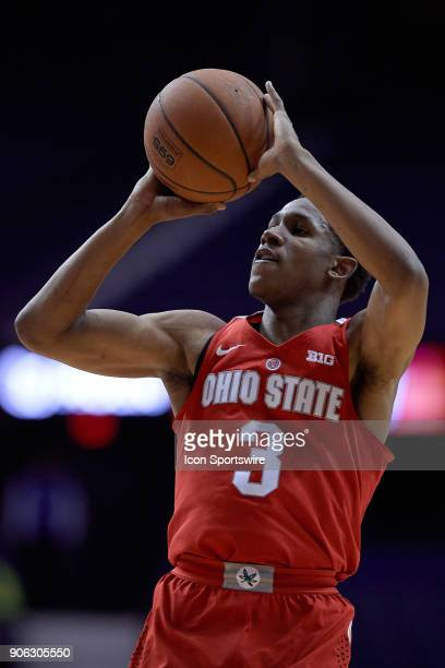 Ohio State Buckeyes guard CJ Jackson shoots the basketball during the BIG Ten college basketball game between the Northwestern Wildcats and the Ohio...