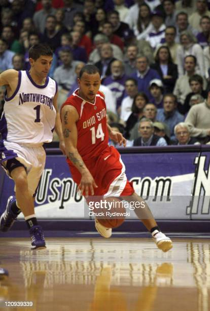 Ohio State Buckeye's Guard Jamar Butler dribbles around Jason Okrzesik during their game against the Northwestern Wildcats January 24 2007 at...