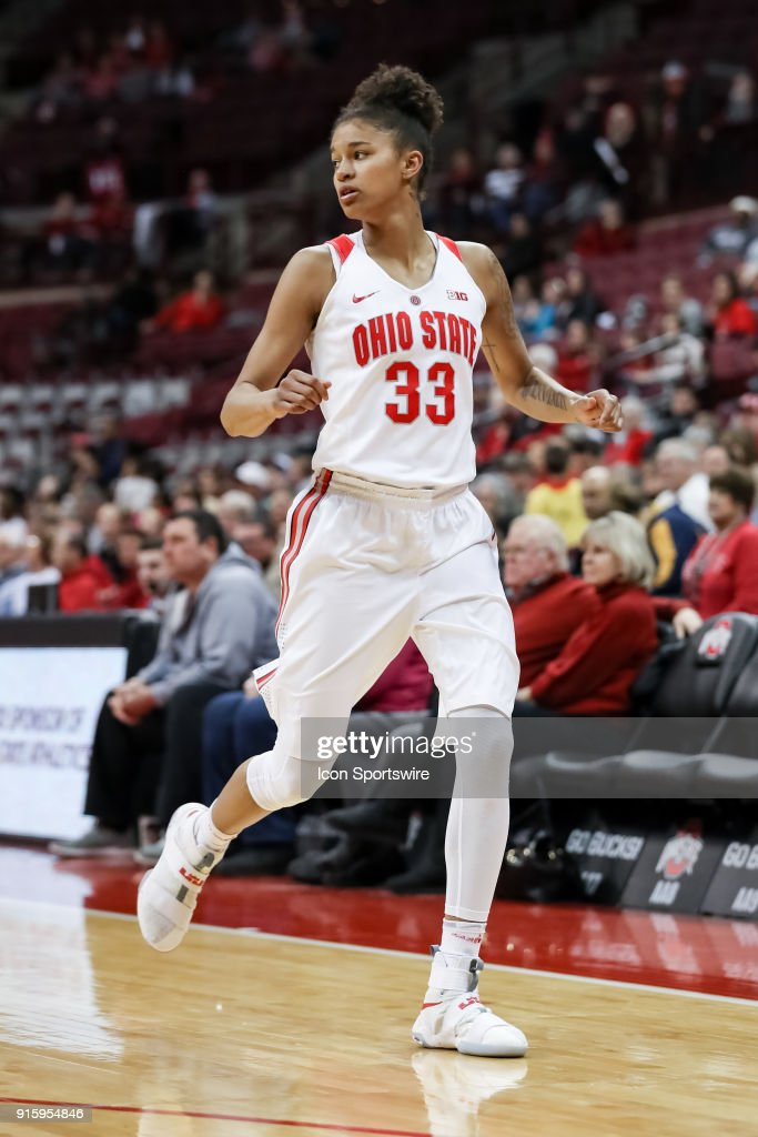 Ohio State Buckeyes guard Jensen Caretti (33) looks on in a game between the Ohio State Buckeyes and the Rutgers Scarlet Knights on February 08, 2018 at Value City Arena in Columbus, OH. The Buckeyes won 90-68.