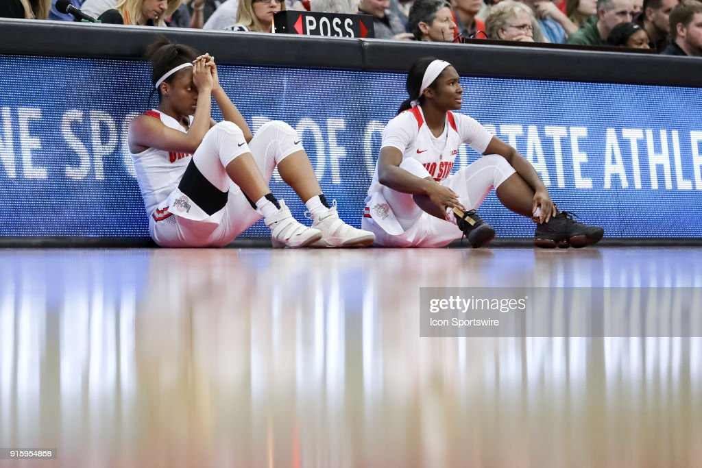 Ohio State Buckeyes guard Kelsey Mitchell (3) and Ohio State Buckeyes guard Linnae Harper (15) await to return to the game in a game between the Ohio State Buckeyes and the Rutgers Scarlet Knights on February 08, 2018 at Value City Arena in Columbus, OH. The Buckeyes won 90-68.