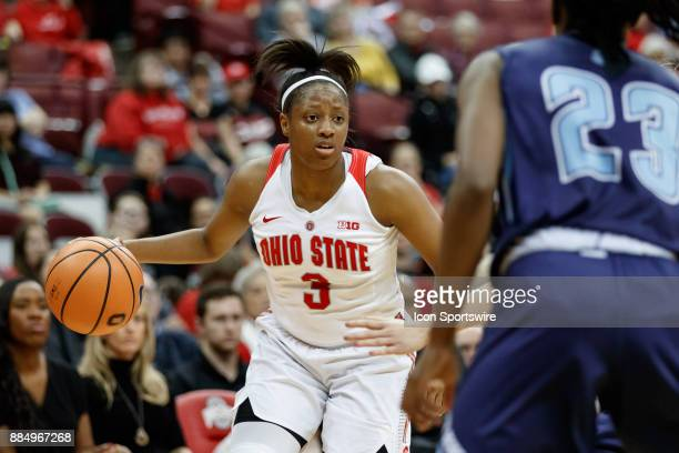 Ohio State Buckeyes guard Kelsey Mitchell looks to pass the ball during a game between the Ohio State Buckeyes and the Maine Black Bears on December...