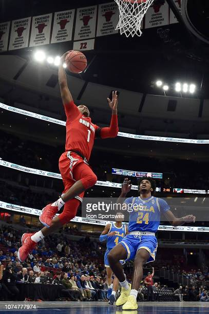 Ohio State Buckeyes guard Luther Muhammad shoot against UCLA Bruins guard Jalen Hill during the CBS Sports Classic on December 22 2018 at the United...