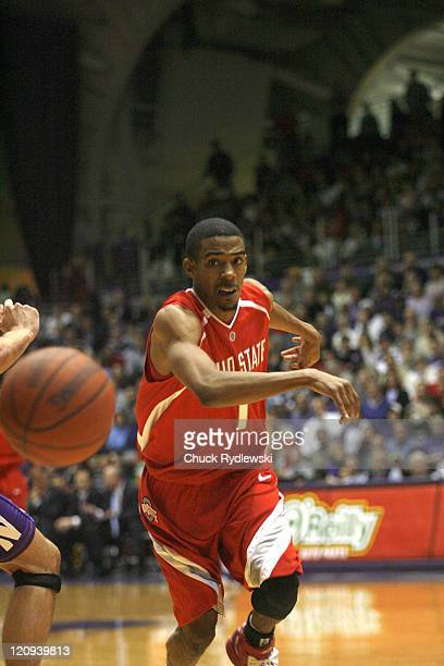 Ohio State Buckeye's Guard Mike Conley Jr passes during their game against the Northwestern Wildcats January 24 2007 at WelshRyan Arena in Evanston...