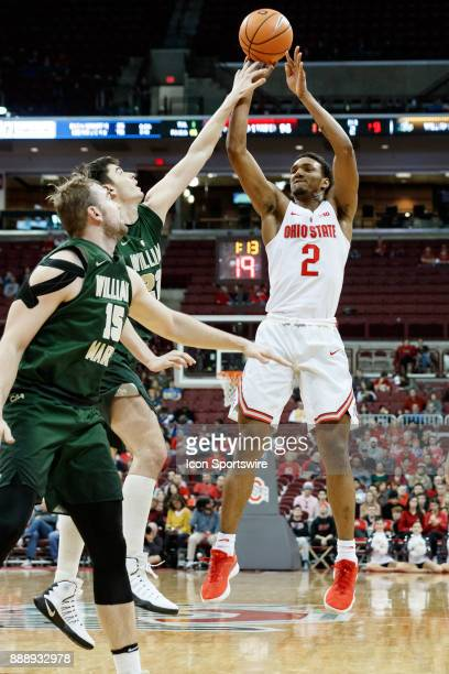 Ohio State Buckeyes guard Musa Jallow shoots a three point shot during a game between the Ohio State Buckeyes and the William Mary Tribe on December...