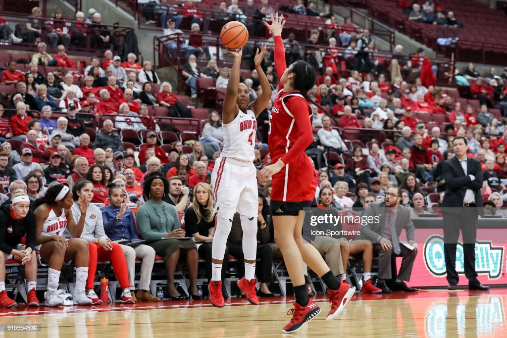 Ohio State Buckeyes guard/forward Sierra Calhoun (4) attempts a three point shot in a game between the Ohio State Buckeyes and the Rutgers Scarlet Knights on February 08, 2018 at Value City Arena in Columbus, OH. The Buckeyes won 90-68.