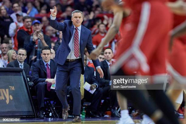 Ohio State Buckeyes head coach Chris Holtmann reacts after a play during the BIG Ten college basketball game between the Northwestern Wildcats and...