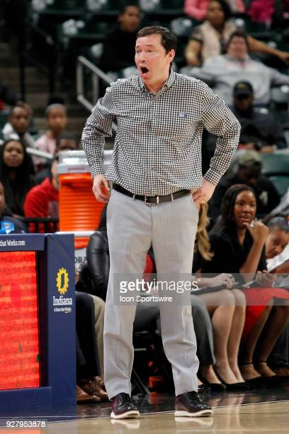 Ohio State Buckeyes Head Coach Kenin McGuff reacts to a call during the Big Ten Women's Championship game between the Ohio State Buckeyes and...