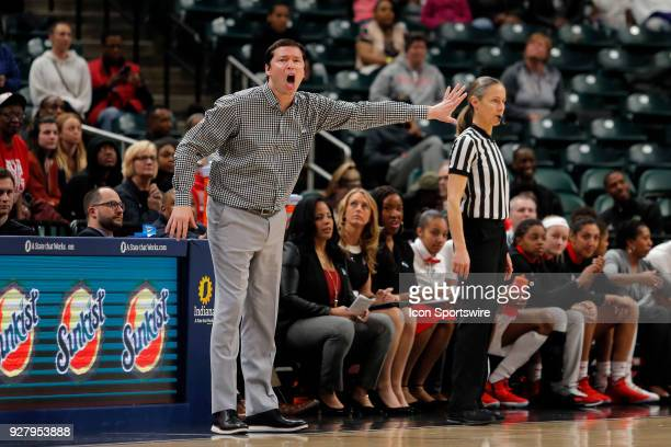 Ohio State Buckeyes Head Coach Kenin McGuff shouts instructions to his team during the Big Ten Women's Championship game between the Ohio State...
