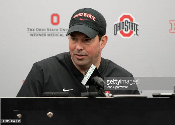 Ohio State Buckeyes head coach Ryan Day address members of the media during a press conference at the Woody Hayes Athletic Center in Columbus Oho on...