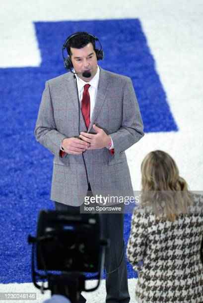 Ohio State Buckeyes head coach Ryan Day does an interview with Fox Sports reporter Jenny Taft before the start of the Big Ten Conference Championship...