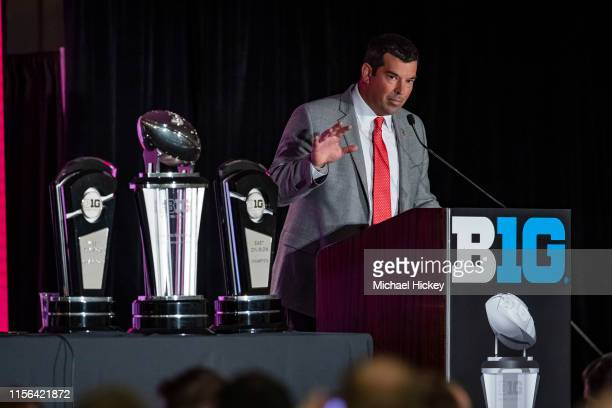 Ohio State Buckeyes head coach Ryan Day is seen at Big Ten football media days on July 18 2019 in Chicago Illinois