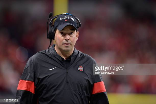 Ohio State Buckeyes head coach Ryan Day looks on during the Big Ten Conference Championship football game between the Wisconsin Badgers and the Ohio...