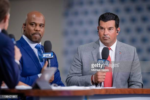 Ohio State Buckeyes head coach Ryan Day speaks with the Big Ten Network at Big Ten football media days on July 18 2019 in Chicago Illinois