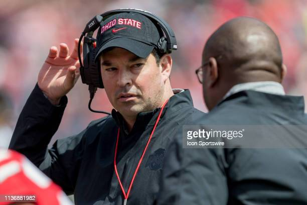 Ohio State Buckeyes head coach Ryan Day talks with Ohio State Buckeyes assistant head coach for offense/running backs Tony Alford during the Ohio...