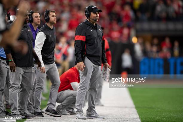 Ohio State Buckeyes head coach Ryan Dayon the sidelines during the Big 10 Championship game between the Wisconsin Badgers and Ohio State Buckeyes on...