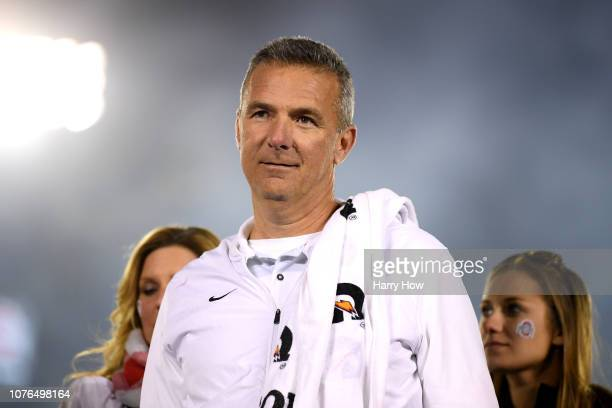 Ohio State Buckeyes head coach Urban Meyer celebrates winning the Rose Bowl Game presented by Northwestern Mutual at the Rose Bowl on January 1, 2019...