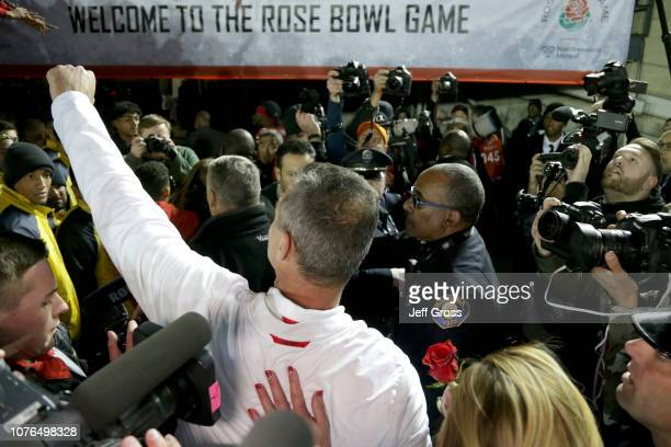Ohio State Buckeyes head coach Urban Meyer celebrates winning the Rose Bowl Game presented by Northwestern Mutual at the Rose Bowl on January 1 2019...